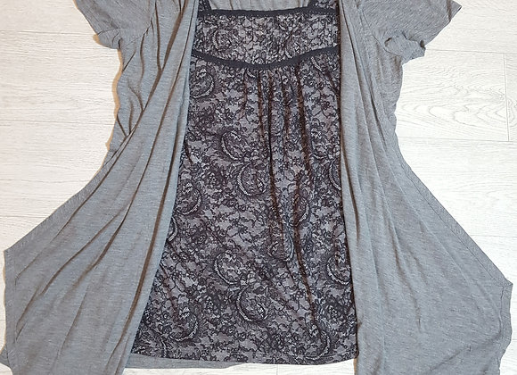 🔴EVANS  Grey and lace top and cardigan all in one size 18