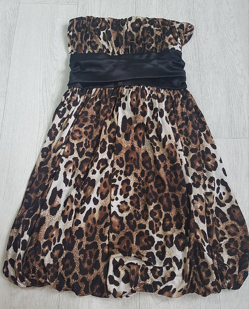 🔵Body cover leopard print strapless puffball dress. Size M/L