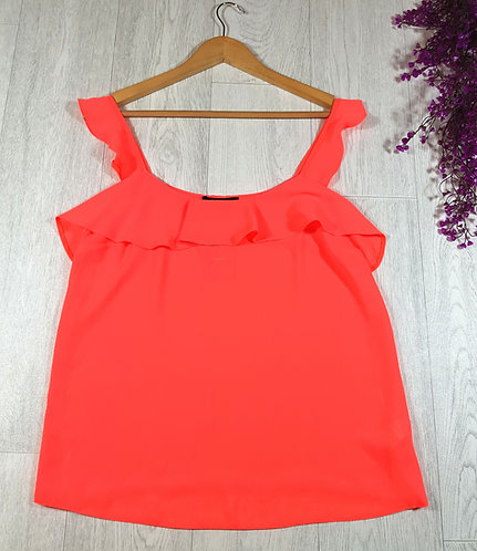 ✴Atmosphere fluorescent pink frill vest top size 10 (NWT)