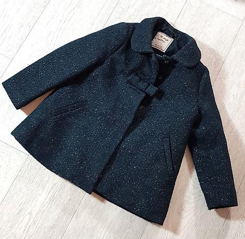 ◽Next dark green coat with gold thread. 2-3yrs