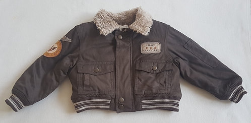 MOLLY N' JACK. Brown bomber jacket with faux fur. Size 2-3 years.