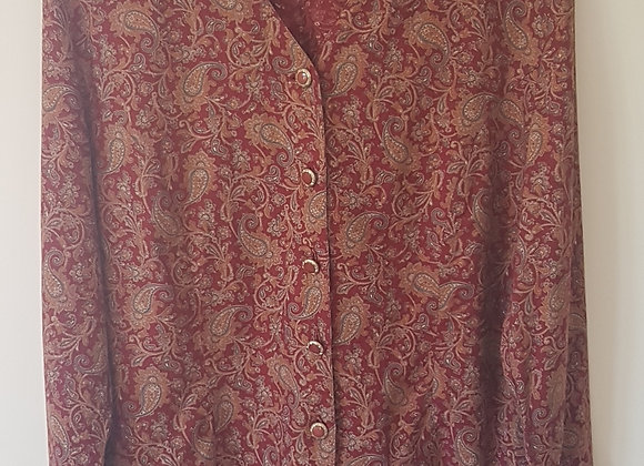 EASTEX. Burgundy pattern jacket with padded shoulders. Size 14