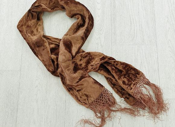 Brown velvet scarf.