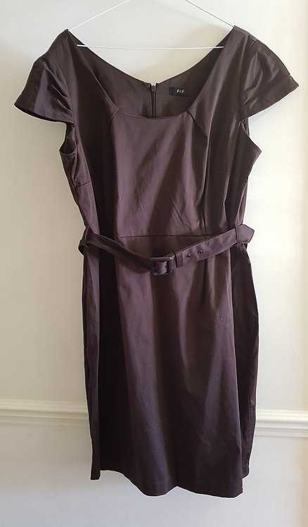 F&F brown dress with belt. Size 18
