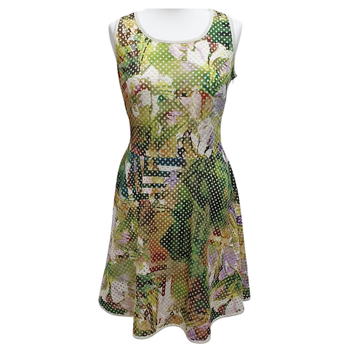 Beige green mix dress. Uk 10