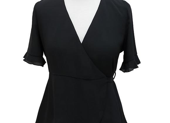 Zara Black wrap front blouse. Size S
