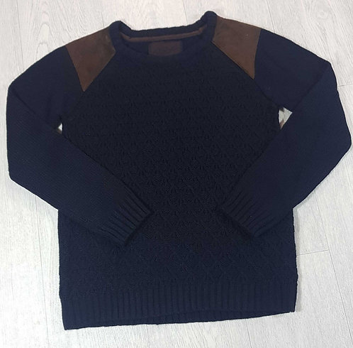 Rebel navy knit sweater with shoulder pads.