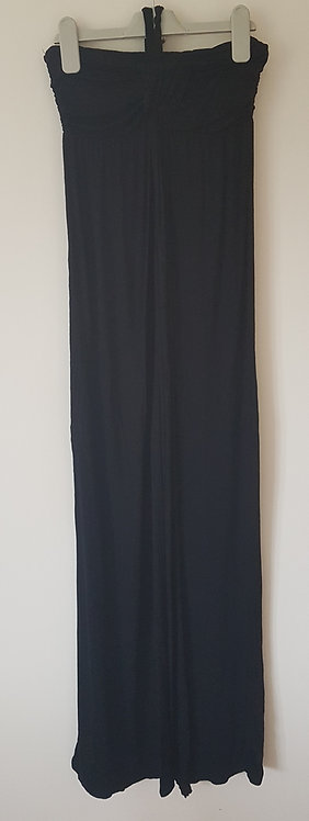 Black halter neck maxi dress. 100% viscose. Size UK small.