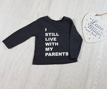 """🐠Primark boys grey long sleeved """"I still live with my parents"""" top size 9/12m"""