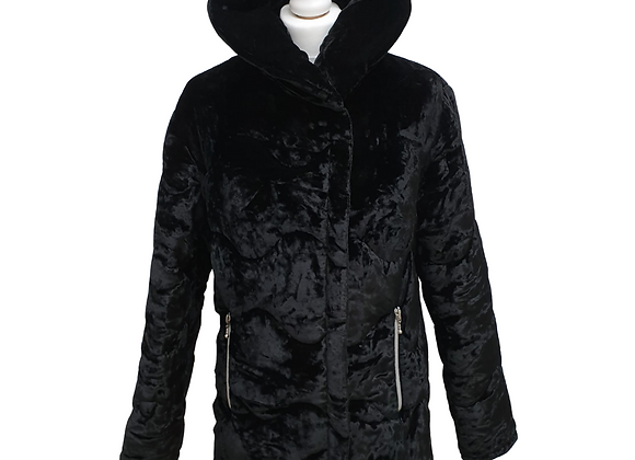Antonio Fusco black thick velvet coat. Uk 10