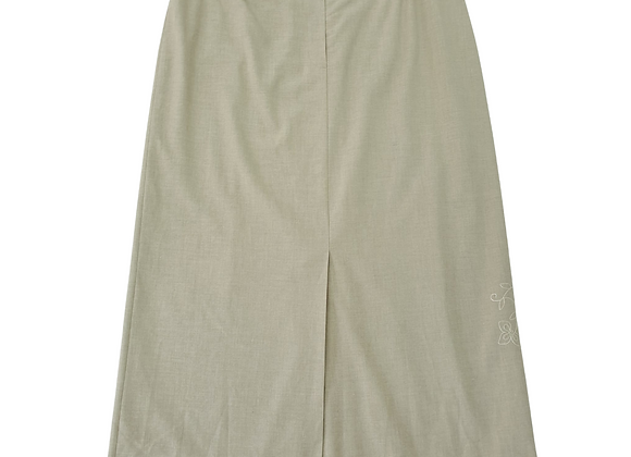 Blanchelle beige skirt. With decorative stitching on side.