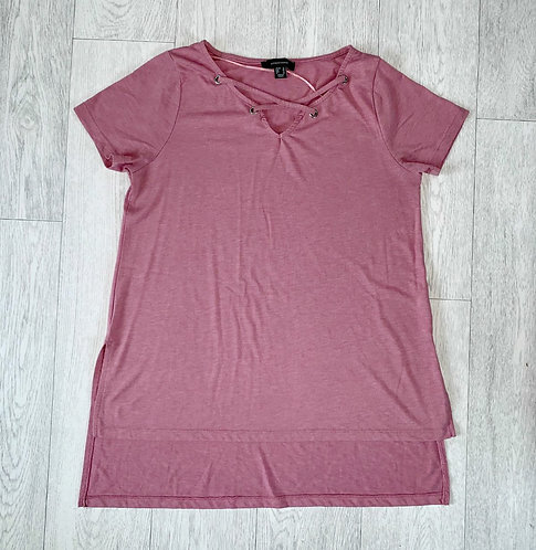 🦊Atmosphere pink T-shirt with criss cross front. Size 12