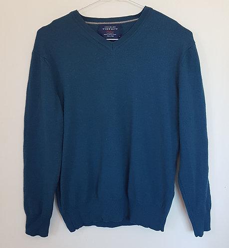 CHARLES TYRWHITT. Blue/green v neck jumper. Size M.