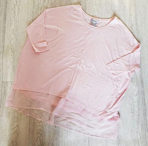 Heine oversized pink top with chiffon trim. Uk 10-12