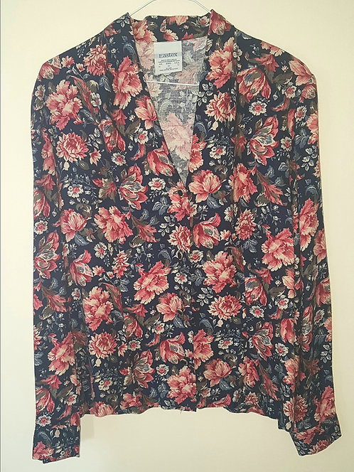 EASTEX. Navy floral print jacket with padded shoulders. Size 14