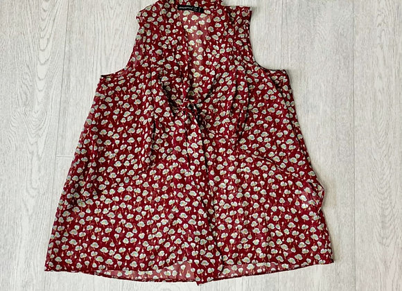 🍃ATMOSPHERE red tie neck blouse. Size 10