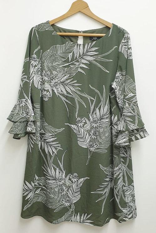 Wallis khaki flare sleeve dress. Uk 18