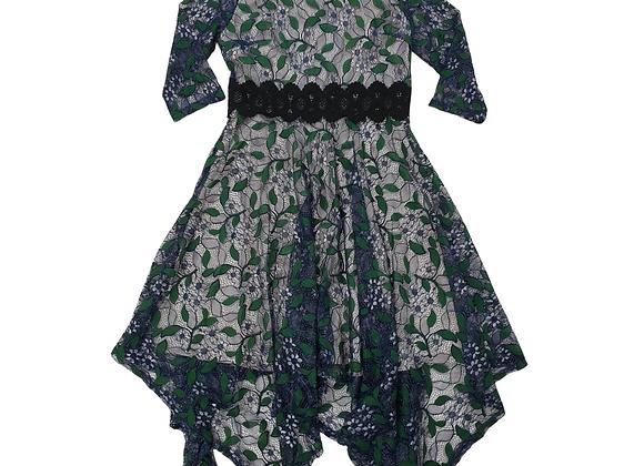 Eazo blue/green lace dress. Size L NWT