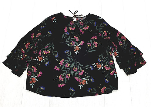 Black floral blouse with flare sleeves. Uk 12