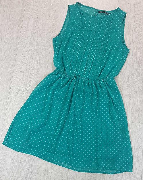 Zara Trafaluc green spotty dress. Size S