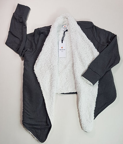 Soul Cal grey thick fleece lined waterfall jacket jumper. Size 14 NWT