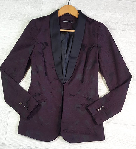 DEFINITIONS Plum embroidered jacket. Size 8