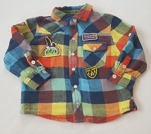 NEXT. Multi coloured shirt with embroided badges. Size 18-24 months.