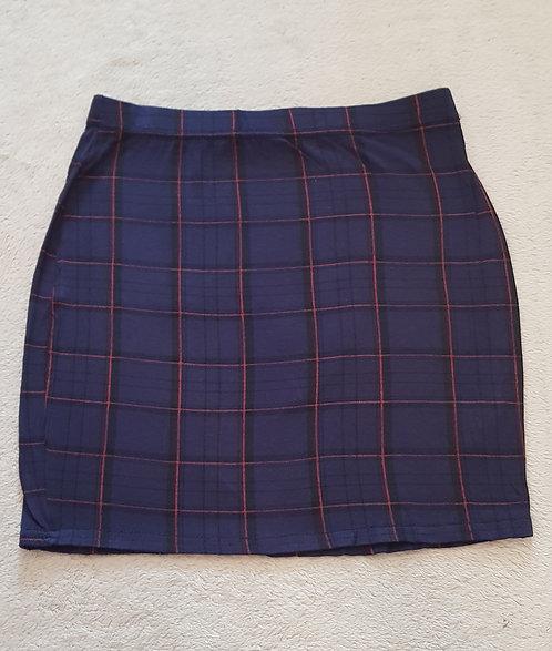 BOOHOO Blue check mini skirt. Size 8