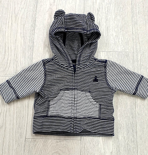 Baby Gap navy striped hooded jumper. 0-3m