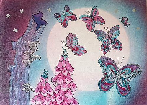 Butterflies mixed media unframed canvas