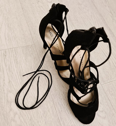 💜M&S black ankle lace heels. 5½