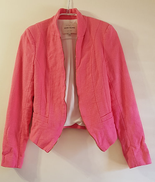 RIVER ISLAND Pink open jacket with shoulder pads. Zip teeth detail to front