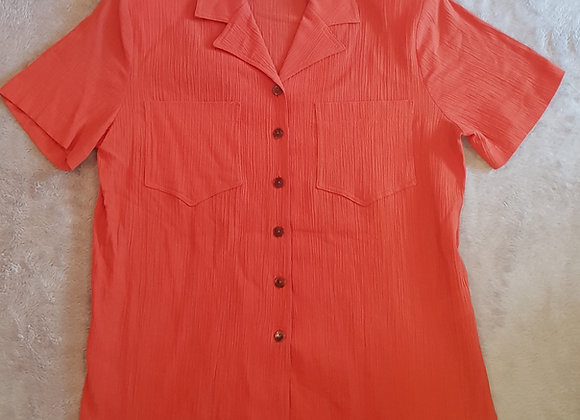 ALEXON. Orange short sleeved shirt with shoulder pads. Size 12.