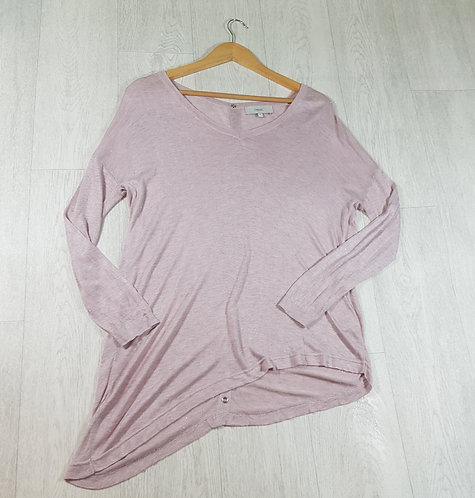 ✴Next pink sparkly long sleeved angled top with button down back size 8
