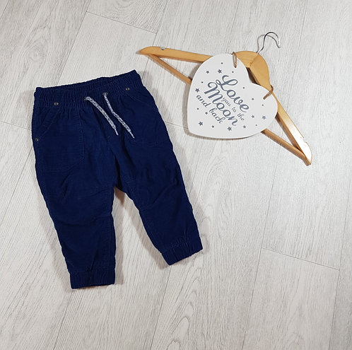 🐠H&M boys navy blue soft trousers with stretchy waist size 9-12m