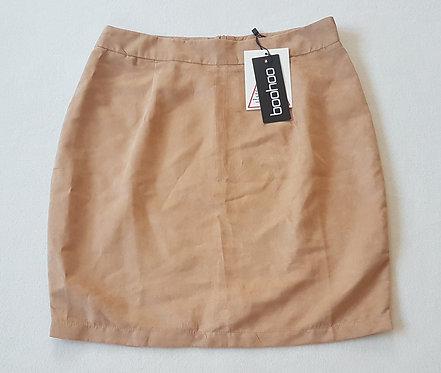 BOOHOO. Sand/Beige soft suedette A-line mini skirt. Zip up back.