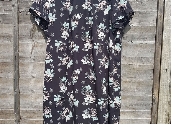 🚩BHS black Leaf pattern dress size 16