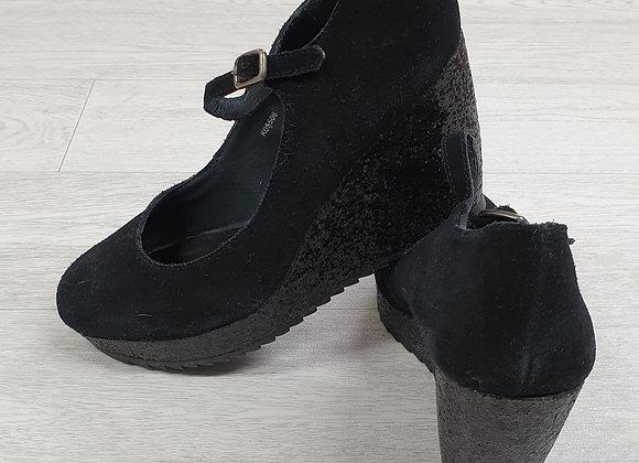 Esprit black glitter wedge shoes Euro 40
