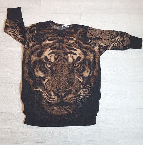 🔴New Look brown and black tiger short sleeved sweater size 8-10