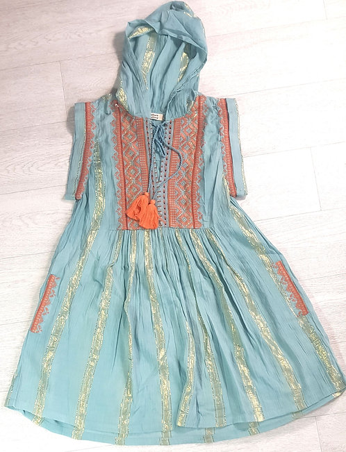 Culture Vulture teal and gold dress. Size Small