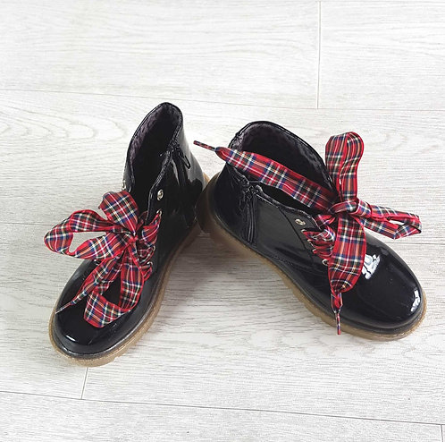 PEACOCKS Black patent ankle boots with tartan bows and zip sides. Size 13