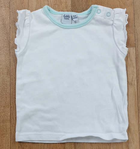 Babble Boom white t-shirt.  0-3m