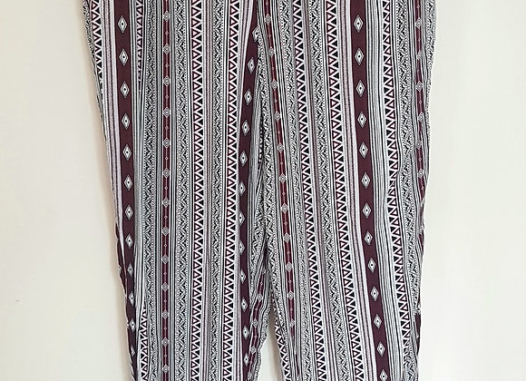 ATMOSPHERE. White and burgundy patterned bottoms.