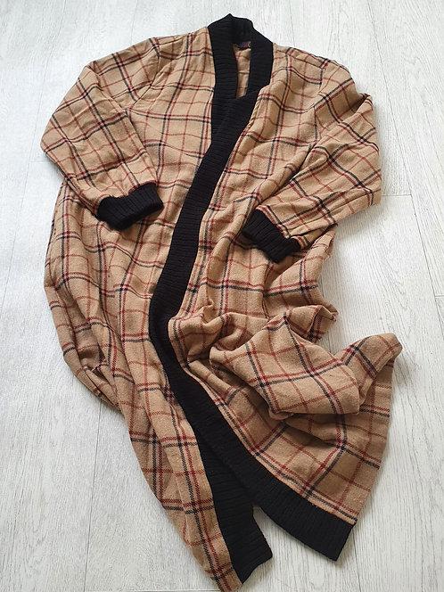 Actuel beige check open jacket. Size 40