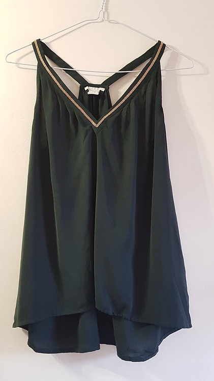 H&M Dark green camisole top with beaded detail. Size Euro 32