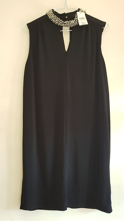 Wallis. Black dress with beaded neck. Size 12. New with tags.