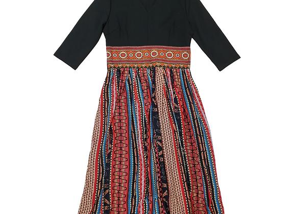 Eazo Egyptian print v-neck dress (blue mix) NWT