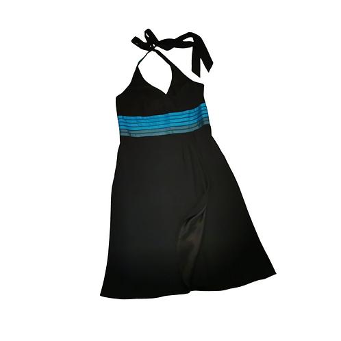 BDL black halter neck dress with turquoise stripes. Uk 12