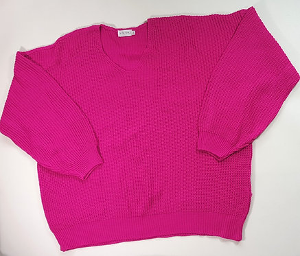 Bright pink oversized knit jumper. Size 14 NWOT