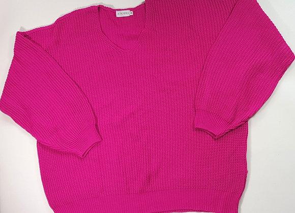 Bright pink oversized knit jumper. Size 14 NWOT
